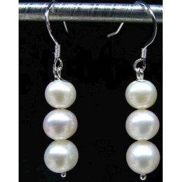 3 pearls in a row - earrings