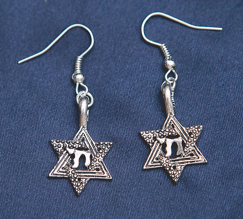 Chai in Star of David Earrings - Silver