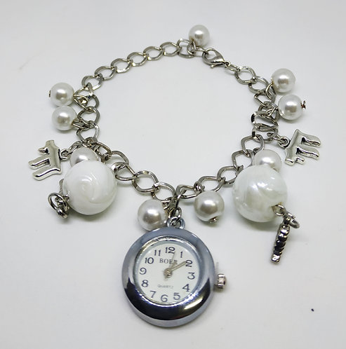 Silver bracelet Watch - with Chai