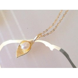 Bell Pearl necklace - 14k gold filled or Sterling Silver