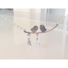 Lovers Necklace - Birds and Stamped