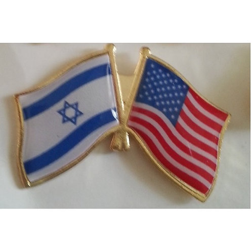 3 Israel USA flag pin