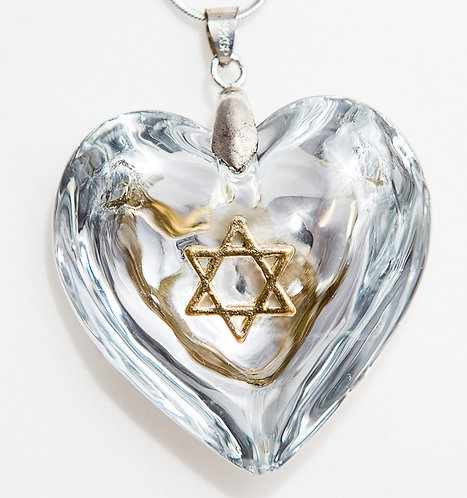 Silver heart with Gold Star of David