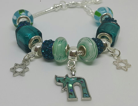 Bracelet with beads -  turquoise Chai and Star of David