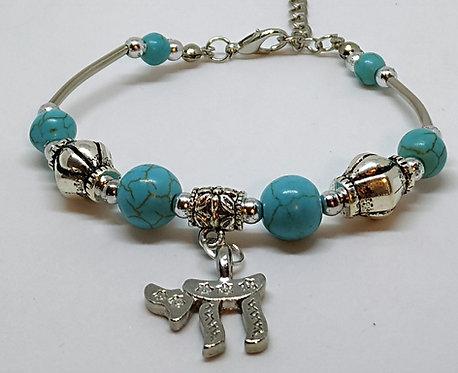 Chai turquoise stone bracelet.