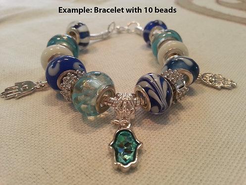 Morano beads with turquoise Hamsah