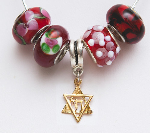 Beads necklace + Gold Star of David and Chai