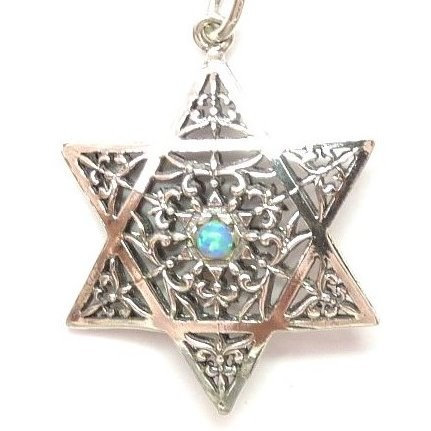 3D Star of David with Opal and Onyx