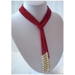 Coral & White Pearl Scarf Necklace