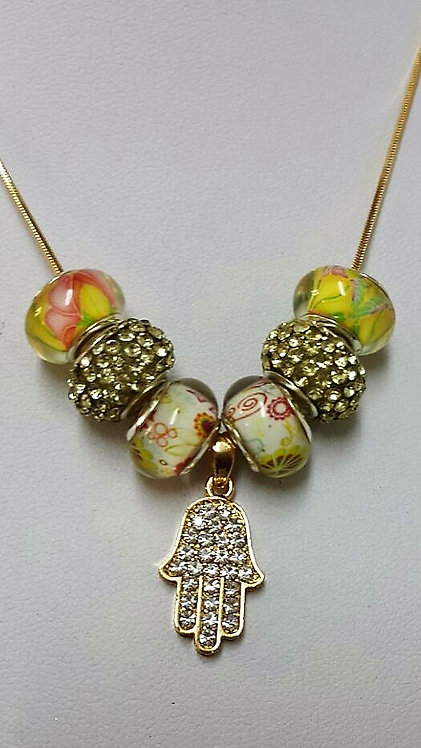 Beads necklace with Hamsah and zircons