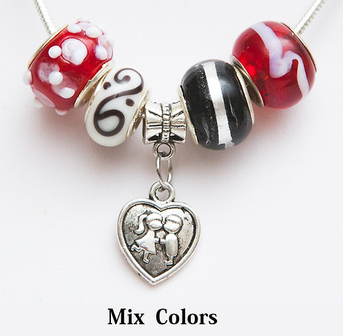 Beads necklace with heart with kids