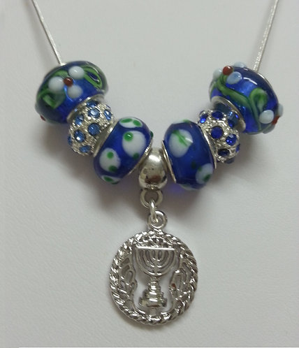 Beads necklace with Silver/Gold Menorah