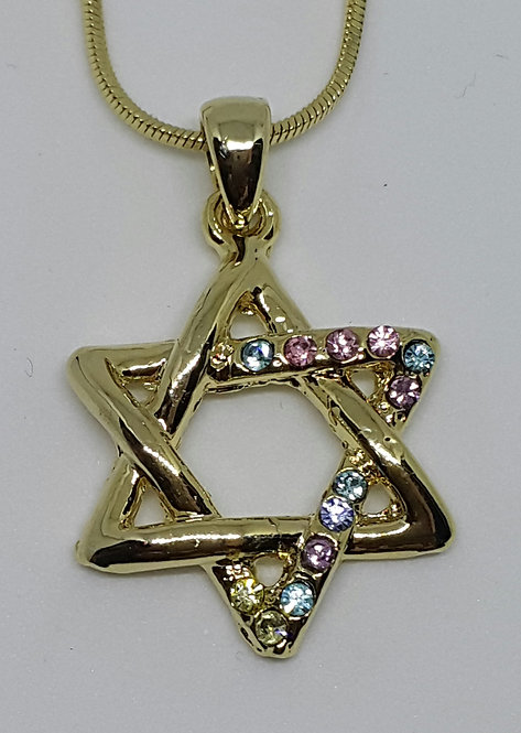 Star of david with multicolord zircons