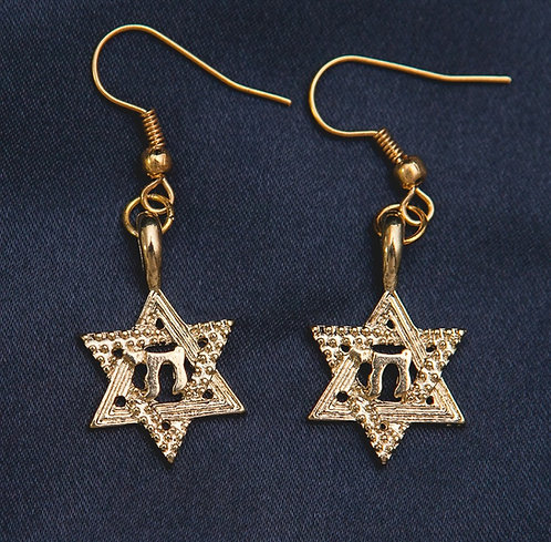 Chai in Star of David Earrings - Gold
