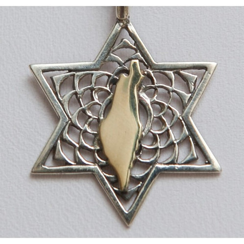 Gold Israeli map on Silver Star of David