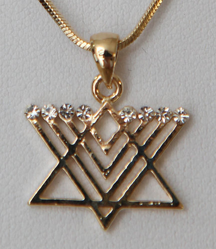 Star of David with Menorah - Golden/Silver plated
