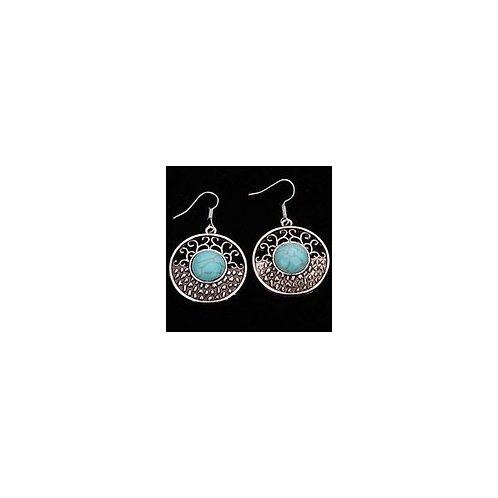 Turquoise Round Earrings Design 1186