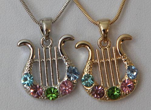 Classic Harp of David - multicolor zircons