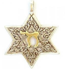 Star of David with Gold Chai