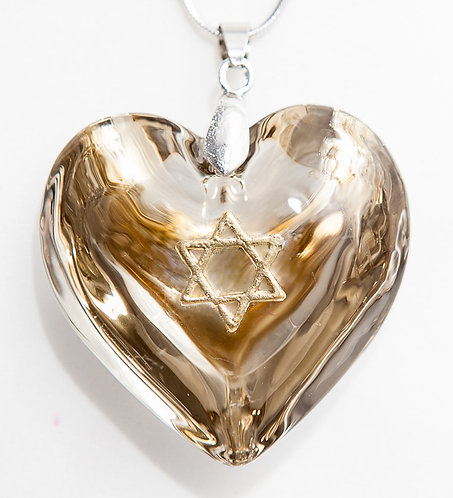 Gold heart with Gold Star of David
