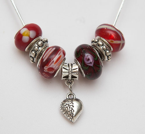 Beads necklace with Heart