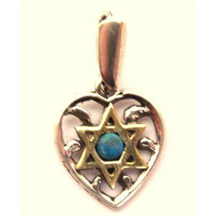 Silver 925 Heart with Gold Star of David