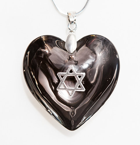 Black heart with Silver Star of David