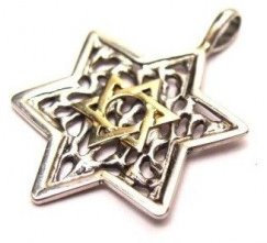 Silver Star of David with Gold Star of David