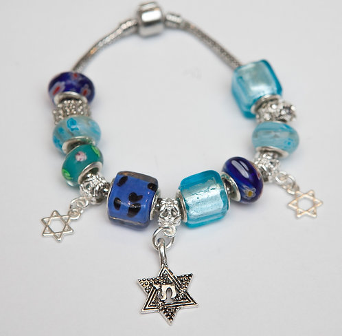 Chai with Star of David - Silver color