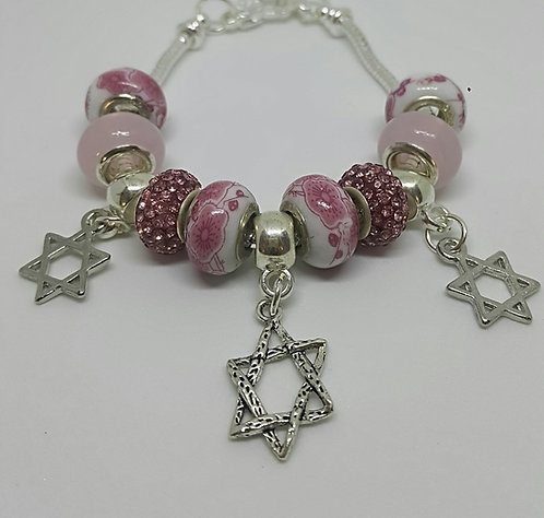 Bracelet with beads and 3 Star of David