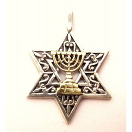 Gold Menorah on Silver Star of David