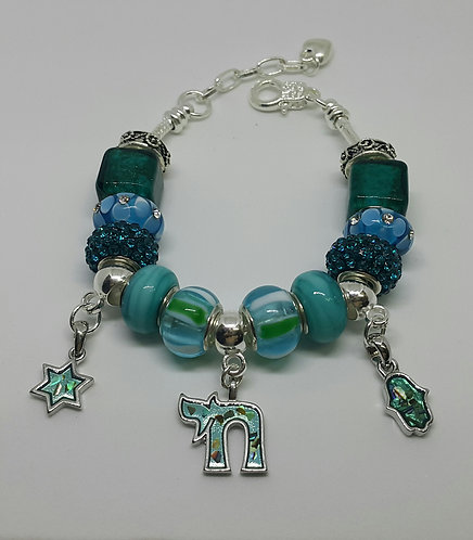 Bracelet with Chai, Star of David and