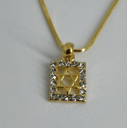 Square Star of David With Zircons - Gold or Silver