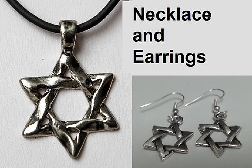 Set: earrings and necklace of Inbar's Star of David