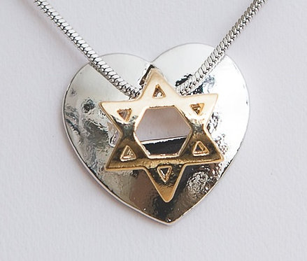 Star of David on silver heart