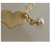 Gold or Silver 925 heart with alphabet letter and pearl