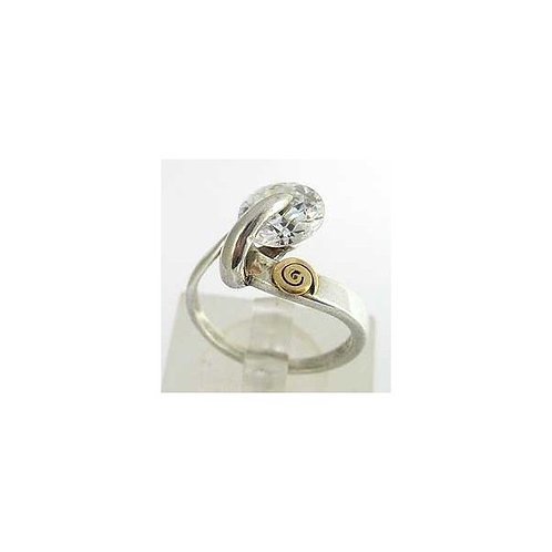Sterling Silver Ring with Zircon and Gold.