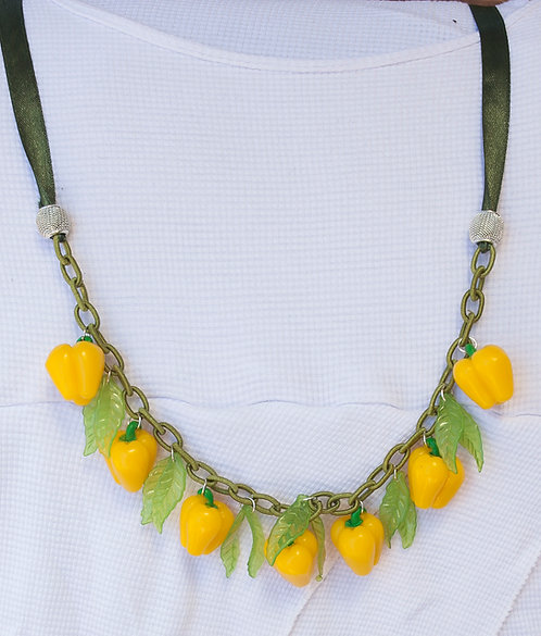 Yellow pepper set - necklace and earrings