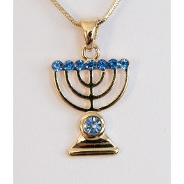 Menorah with blue Zircons - Gold/Silver plated