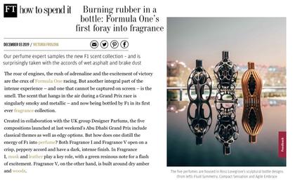 FT How to spend it | Ferg & Friends Public Relations | F1 Fragrances