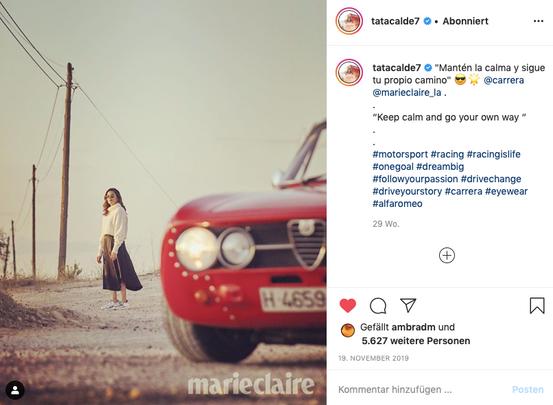 Tatiana Calderón endorsing Carrera Eyewear & Tod's for Marie Claire Latin America