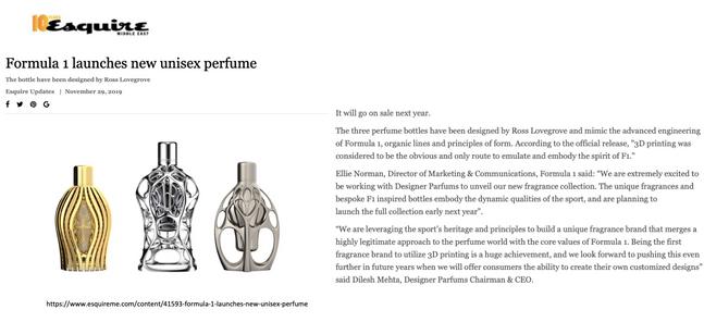 Esquire Middle East | Ferg & Friends Public Relations | F1 Fragrances
