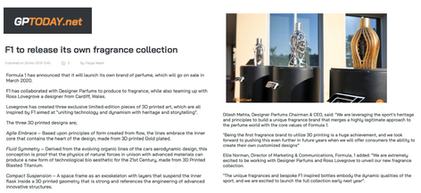 GP Today | Ferg & Friends Public Relations | F1 Fragrances