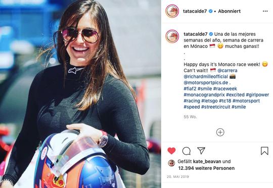 Tatiana Calderón endorsing Carrera Eyewear