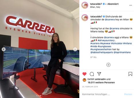 Carrera special appearance during Milan Eyewear fair Mido endorsing Tod's, Maison Common & La Biosthétique