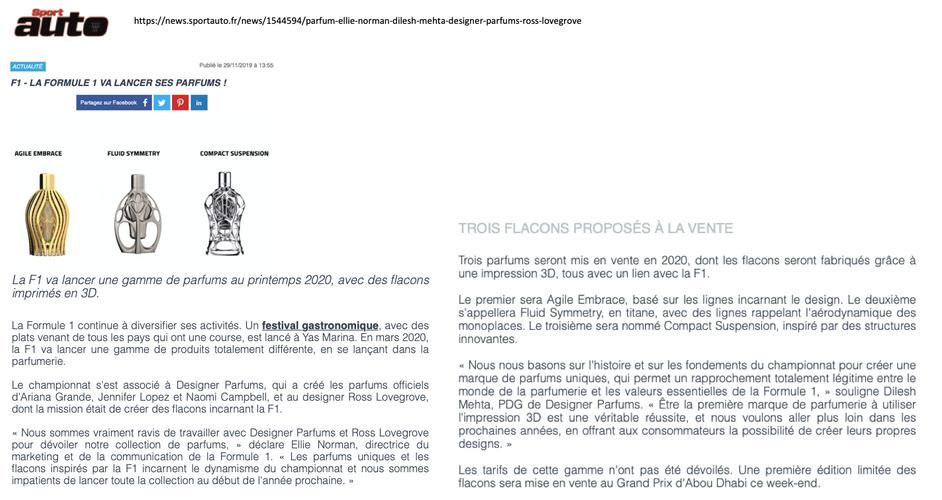 Sportauto France | Ferg & Friends Public Relations | F1 Fragrances