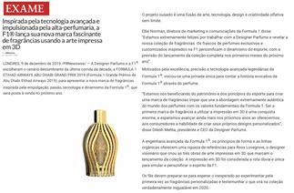 Exame | Ferg & Friends Public Relations | F1 Fragrances