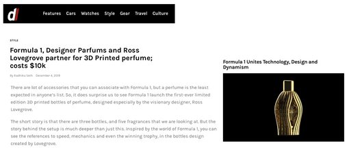 DL Mag | Ferg & Friends Public Relations | F1 Fragrances