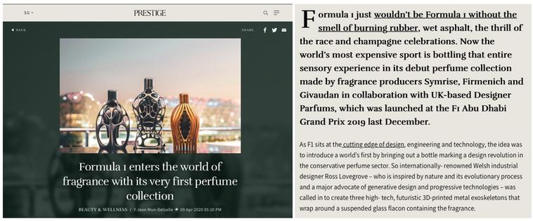 Prestige Online | Ferg & Friends Public Relations | F1 Fragrances