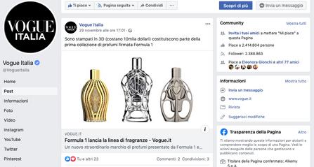 Vogue Facebook | Ferg & Friends Public Relations | F1 Fragrances